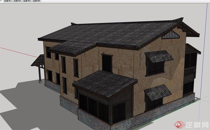 农村房屋改造建筑su模型
