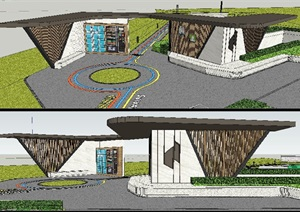 特色景观廊架设计cad施工图