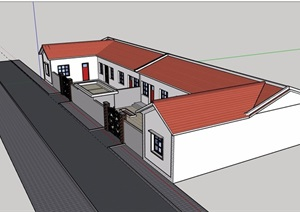 新农村户型住宅单层建筑设计SU(草图大师)模型