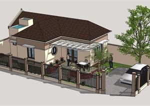 农村住宅平房住宅楼详细设计SU(草图大师)模型