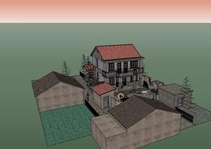 中式新农村住宅多层建筑设计SU(草图大师)模型