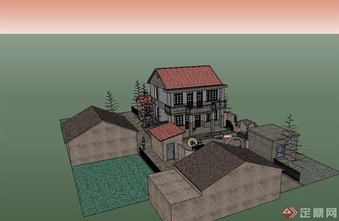 中式新农村住宅多层建筑设计su模型