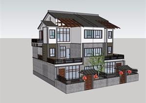 新农村住房民居建筑SU(草图大师)模型