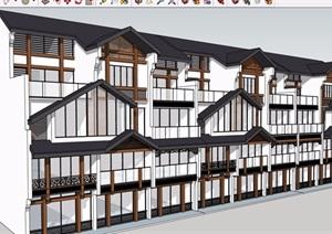 中式农村沿街住房建筑SU(草图大师)模型