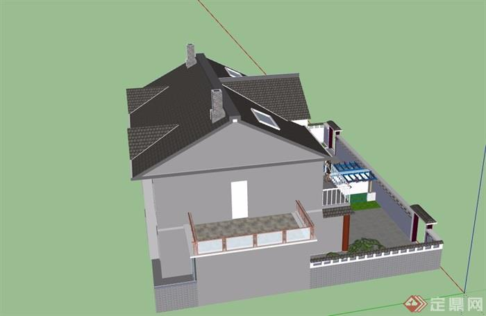 中式农村别墅建筑楼房SU模型
