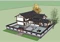 中式農村別墅合院詳細建筑設計su模型