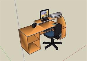 板式辦公桌電腦桌椅SU模型