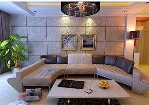 现代住宅详细的室内客厅空间装饰设计3d模?#22270;?#25928;果图