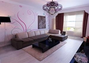 某室内详细的住宅室内客厅装饰设计3d模?#22270;?#25928;果图