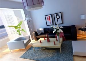 现代详细的住宅室内客厅餐厅装饰设计3d模?#22270;?#25928;果图