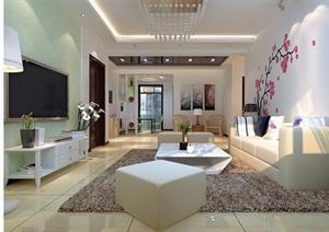 现代详细的室内客厅餐厅装饰3d模?#22270;?#25928;果图