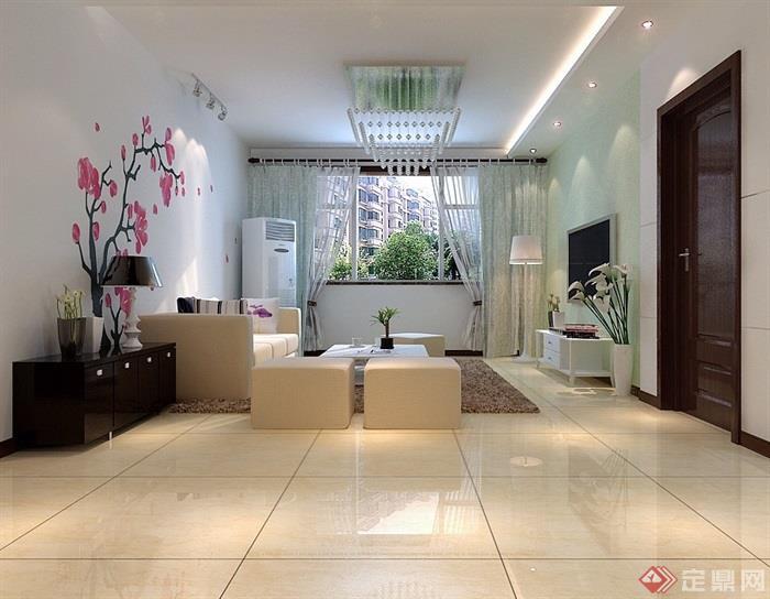 现代详细的室内客厅餐厅装饰3d模型及效果图