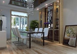 某现代风格详细室内客厅餐厅3d模?#22270;?#25928;果图