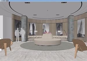 现代禅意办公空间室内设计SU(草图大师)模型及效果图