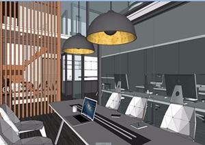 现代LOFT办公室详细装饰设计3d模型及效果图