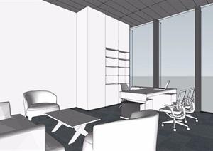 现代风格大型办公区设计SU(草图大师)模型