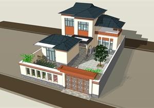 新中式合院别墅SU(草图大师)模型