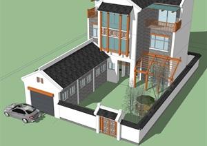 新中式合院别墅方案SU(草图大师)模型