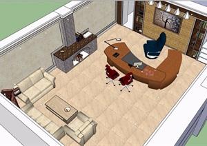 办公室和办公室详细设计SU(草图大师)模型