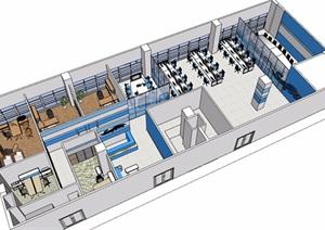 某整体办公空间整体设计SU(草图大师)模型