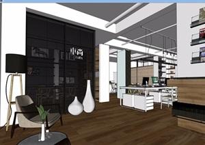 现代风格办公空间完整设计SU(草图大师)模型
