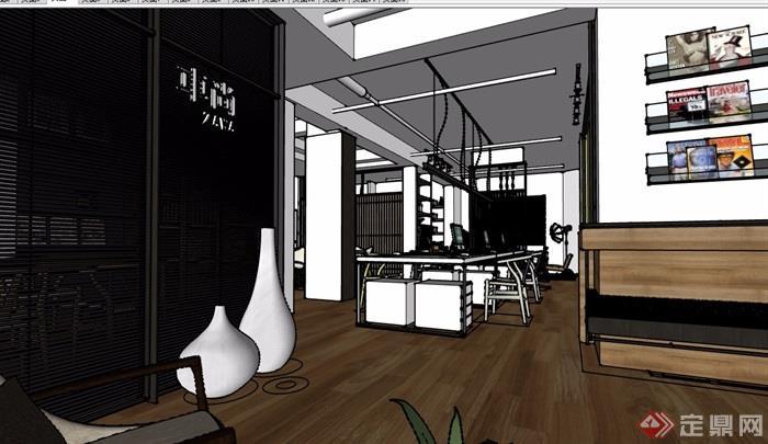 现代风格办公空间完整设计su模型