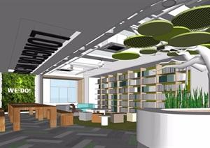 现代办公前台大厅休息区设计SU(草图大师)模型