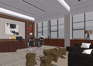 现代办公室整体详细完整设计SU(草图大师)模型