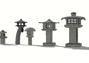 日式石灯地灯景观灯素材