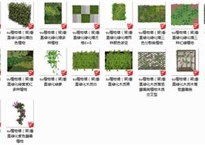 植物墙垂直绿化墙格子架植物架花架模型