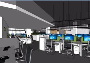 某现代风格详细总部办公项目室内SU(草图大师)模型