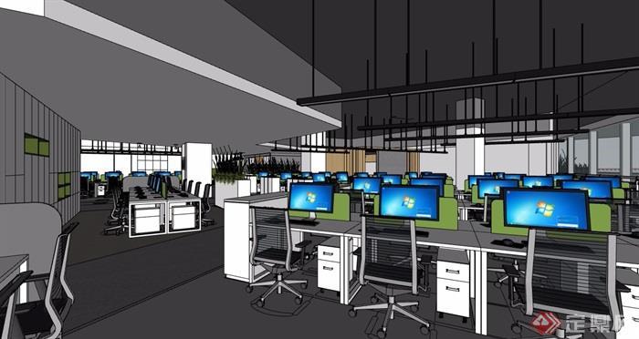 某现代风格详细总部办公项目室内su模型