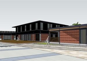 现代简约轻钢结构轻奢工业风砖表皮公园文化建筑休闲茶室活动中心娱乐活动室