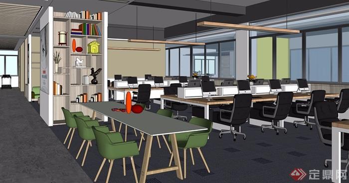 现代办公室完整详细设计su模型