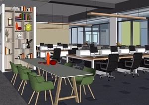 现代办公室完整详细设计SU(草图大师)模型