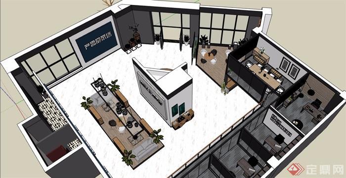 LOFT办公空间完整详细设计su模型