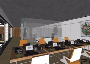 某整体loft办公空间装饰设计SU(草图大师)模型及效果图