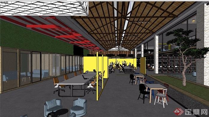 某整体loft办公空间装饰设计su模型及效果图