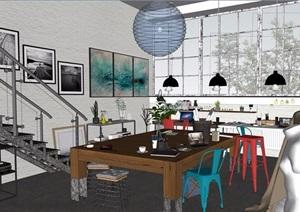 loft现代工作室装饰设计SU(草图大师)模型
