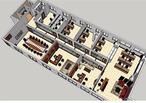 企业办公室整体SU(草图大师)模型