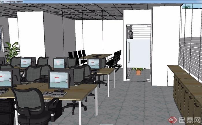 现代简约办公室装饰设计su模型