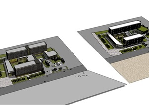 现代创意圆弧形抹角酒店设计SU(草图大师)模型cad