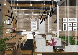 北欧简约风格暖色调木质软装咖啡厅民宿餐厅