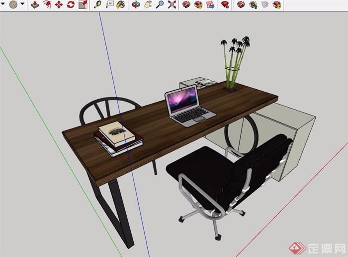 简约中式风格办公桌椅素材设计su模型