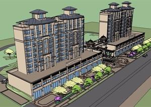 欧式风格详细的商住小区楼建筑设计SU(草图大师)模型