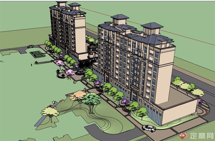 欧式风格详细的商住小区楼建筑设计su模型
