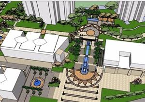 简欧风格的小区入口景观设计SU(草图大师)模型