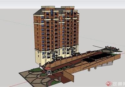 歐式小區住宅樓設計su模型
