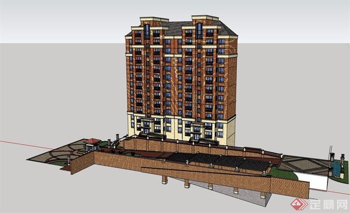 欧式小区住宅楼设计su模型