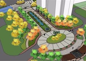 小区入口景观设计SU(草图大师)模型